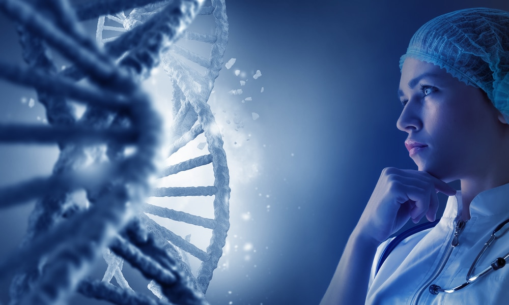 researcher looking at genes
