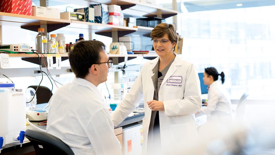 Dr. Diane Simeone with research fellow Andrea Zamperone in the Simeone Lab